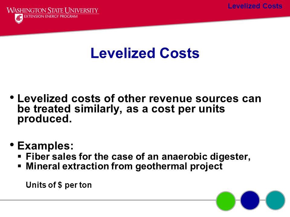Levelized costs of other revenue sources can be treated similarly, as a cost per units produced. Examples: Fiber sales for the case of an anaerobic di