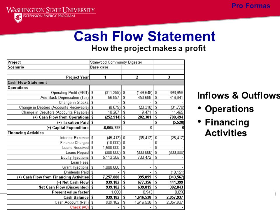 Cash Flow Statement How the project makes a profit Inflows & Outflows Operations Financing Activities Pro Formas