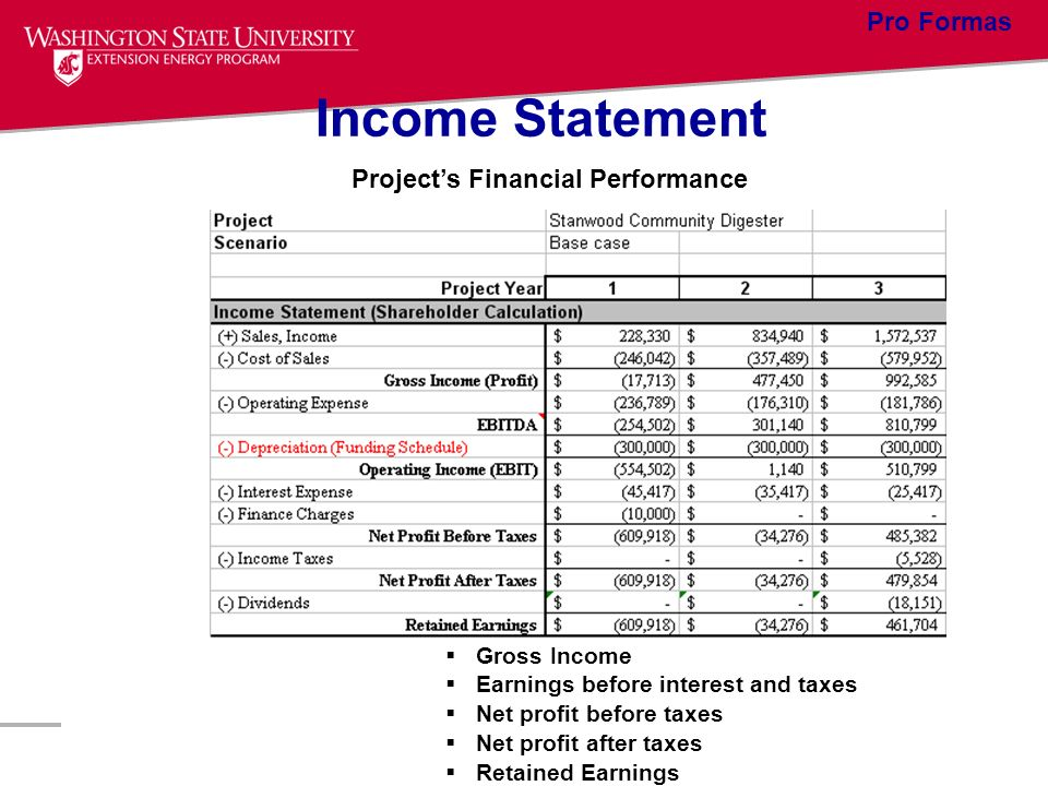 Income Statement Projects Financial Performance Gross Income Earnings before interest and taxes Net profit before taxes Net profit after taxes Retaine