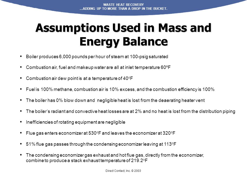 WASTE HEAT RECOVERY …ADDING UP TO MORE THAN A DROP IN THE BUCKET. Direct Contact, Inc. © 2003 Assumptions Used in Mass and Energy Balance Boiler produ