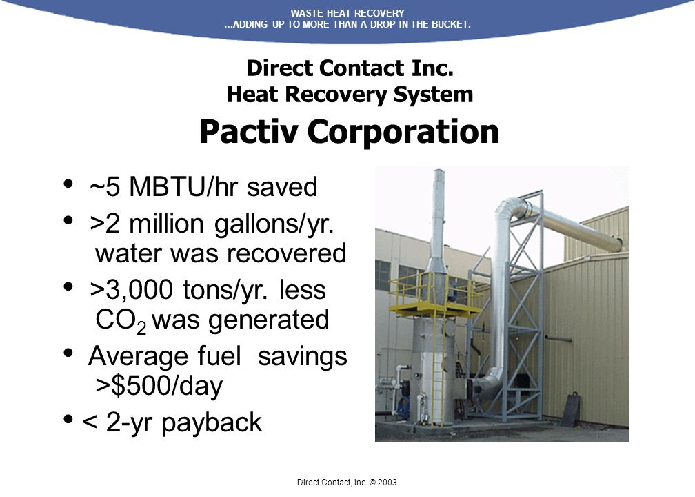 WASTE HEAT RECOVERY …ADDING UP TO MORE THAN A DROP IN THE BUCKET.
