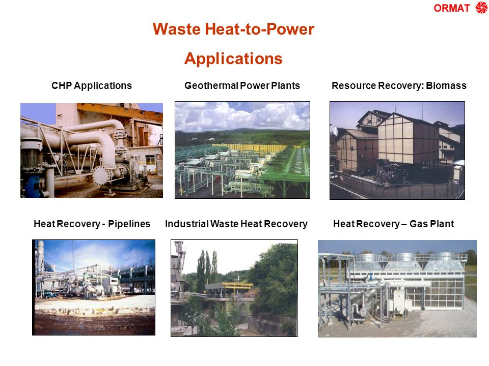 Resource Recovery: BiomassGeothermal Power Plants Industrial Waste Heat RecoveryHeat Recovery – Gas PlantHeat Recovery - Pipelines 1473 Waste Heat-to-