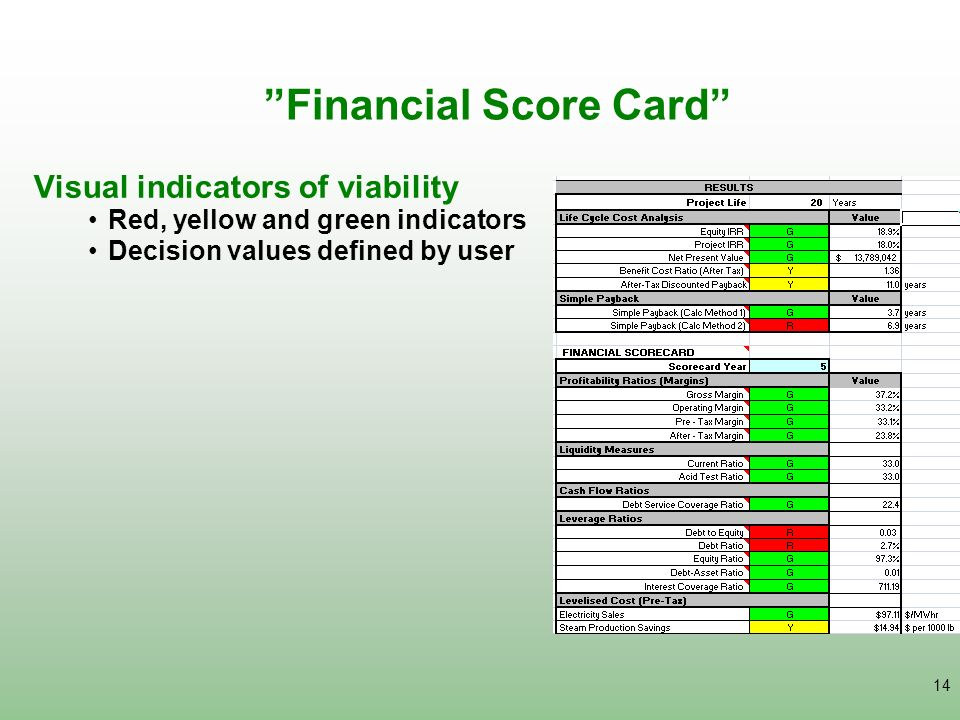 14 Financial Score Card Visual indicators of viability Red, yellow and green indicators Decision values defined by user