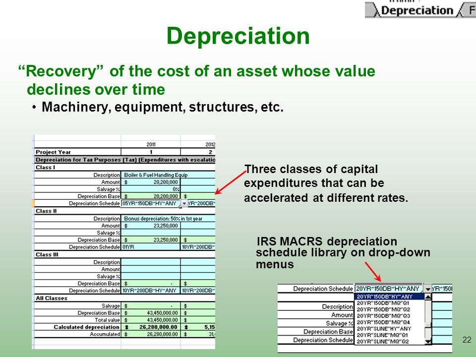 22 Depreciation Recovery of the cost of an asset whose value declines over time Machinery, equipment, structures, etc. Three classes of capital expend