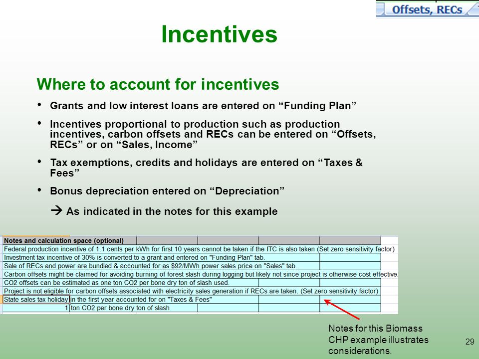 29 Incentives Where to account for incentives Grants and low interest loans are entered on Funding Plan Incentives proportional to production such as