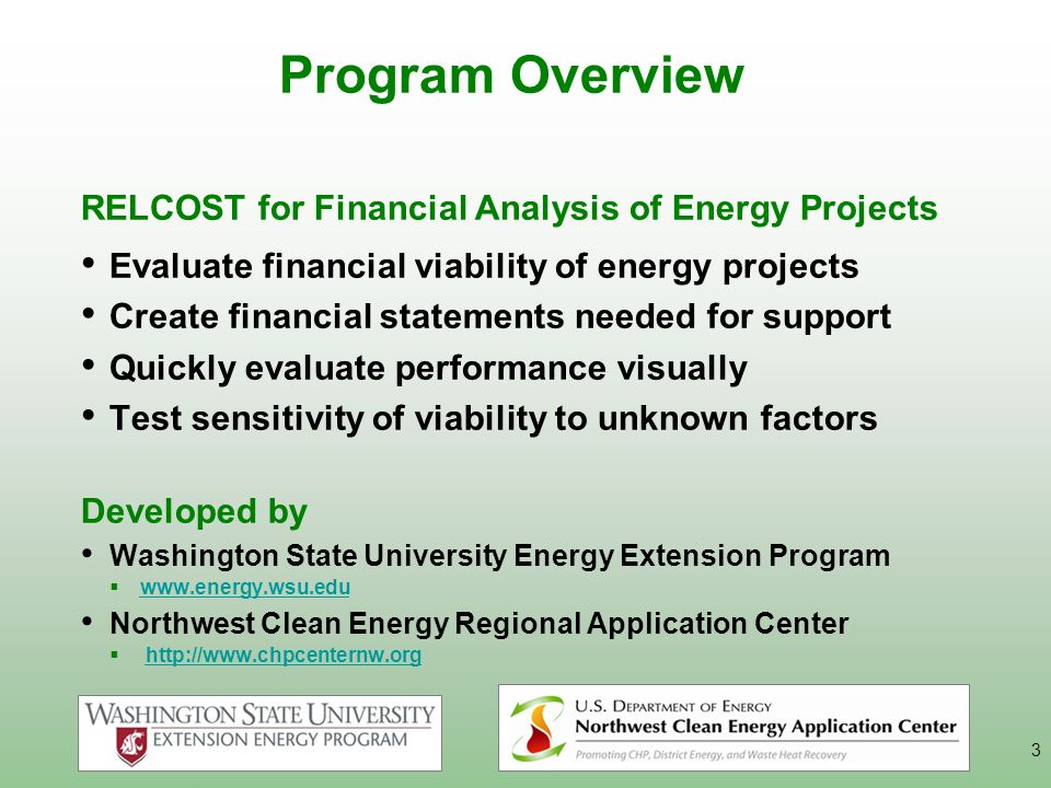 3 Program Overview RELCOST for Financial Analysis of Energy Projects Evaluate financial viability of energy projects Create financial statements neede