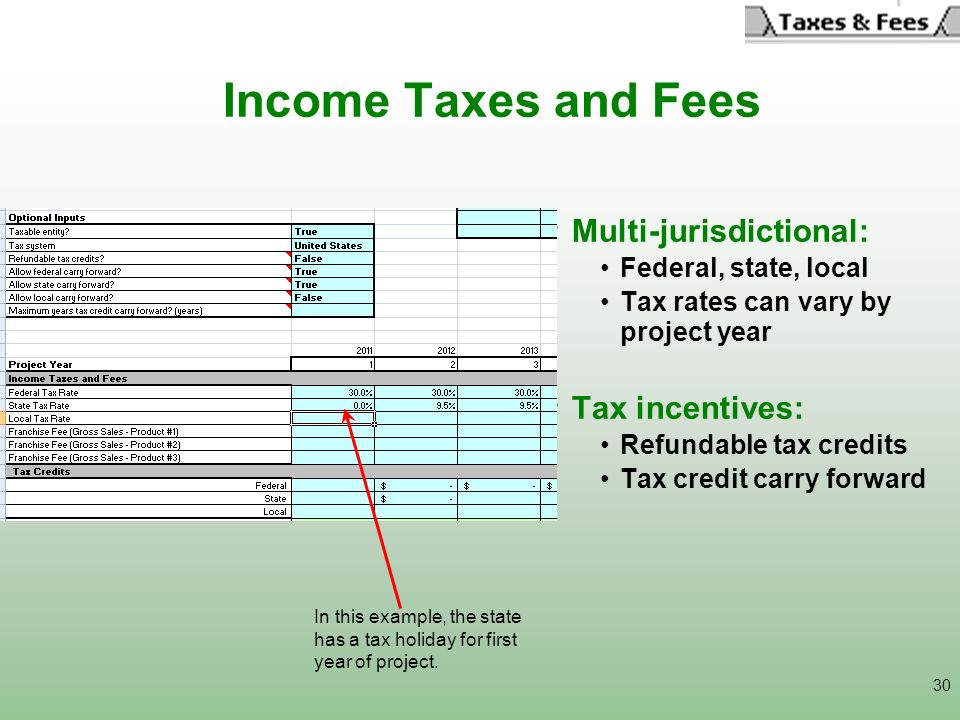 30 Income Taxes and Fees Multi-jurisdictional: Federal, state, local Tax rates can vary by project year Tax incentives: Refundable tax credits Tax cre