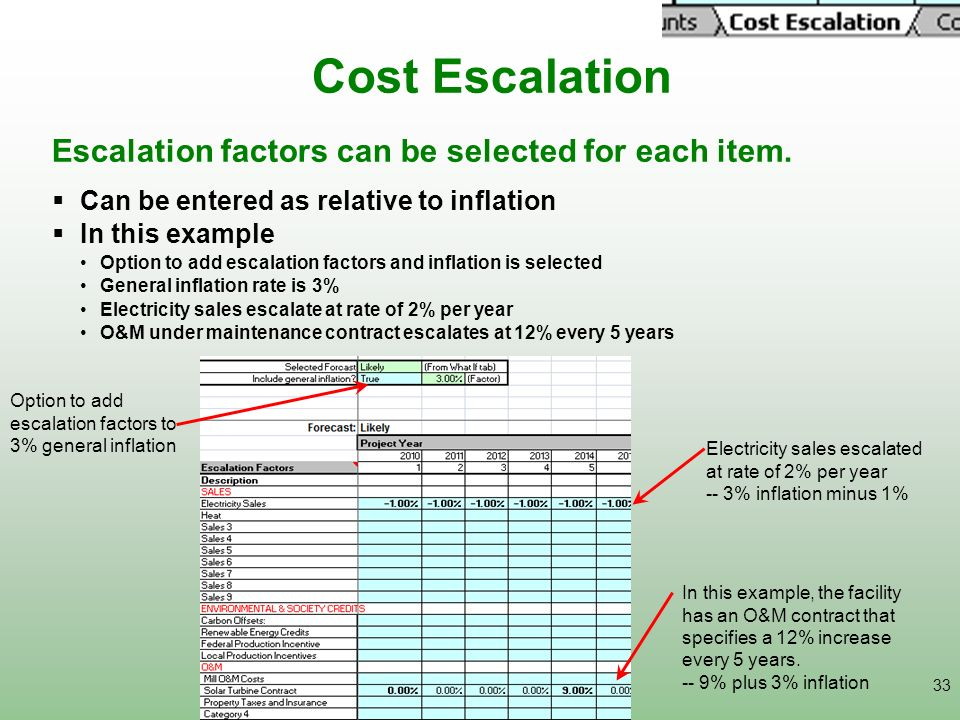 33 Cost Escalation Option to add escalation factors to 3% general inflation Escalation factors can be selected for each item. Can be entered as relati