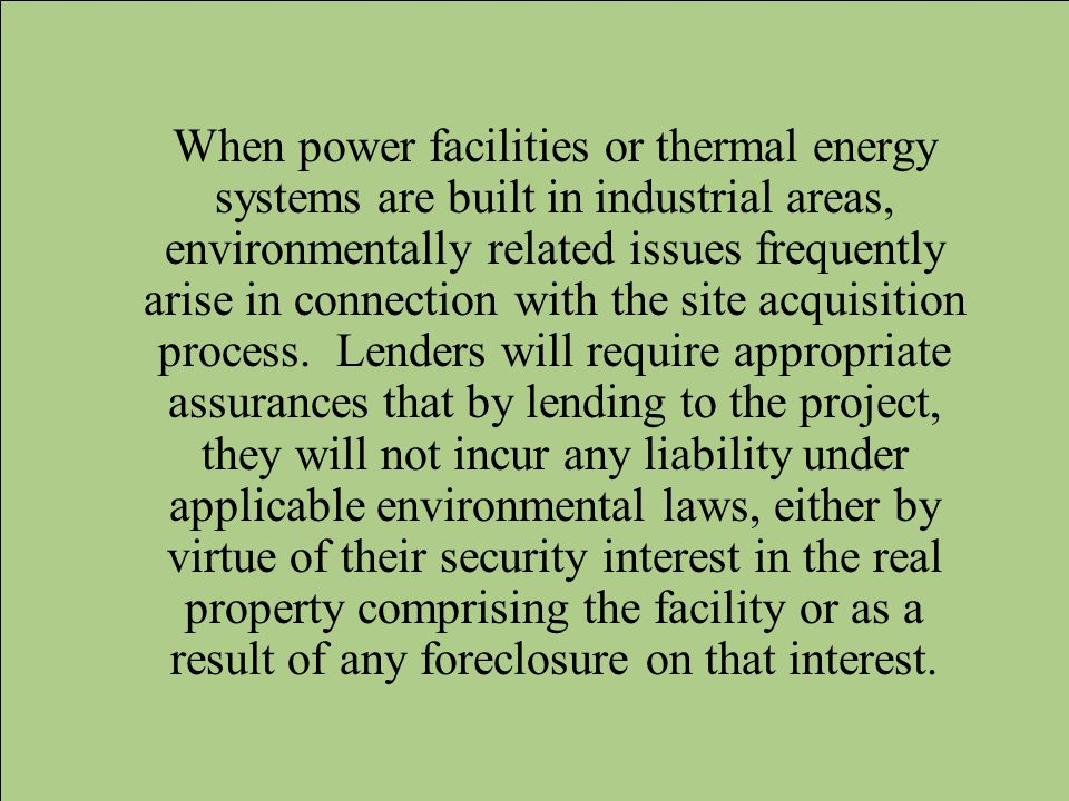 When power facilities or thermal energy systems are built in industrial areas, environmentally related issues frequently arise in connection with the