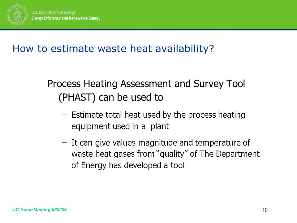 UC-Irvine Meeting How to estimate waste heat availability.