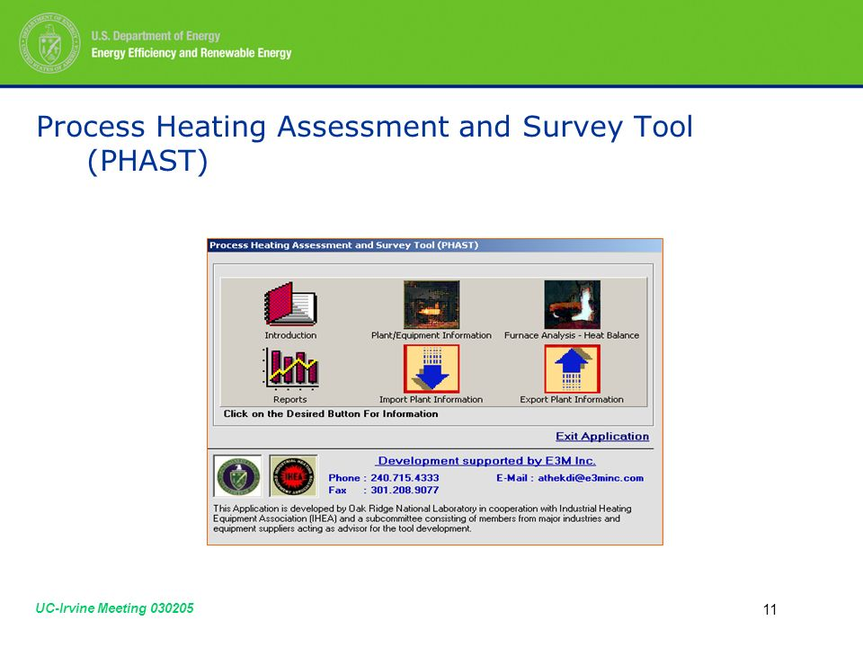 UC-Irvine Meeting Process Heating Assessment and Survey Tool (PHAST)