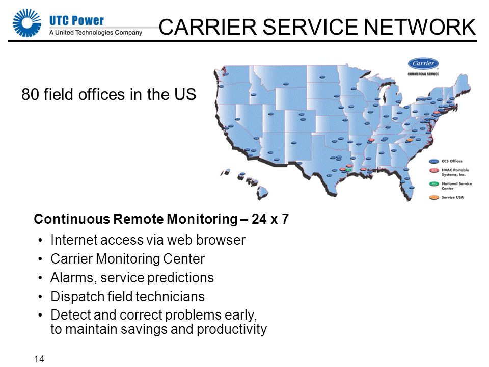 14 CARRIER SERVICE NETWORK 80 field offices in the US Continuous Remote Monitoring – 24 x 7 Internet access via web browser Carrier Monitoring Center