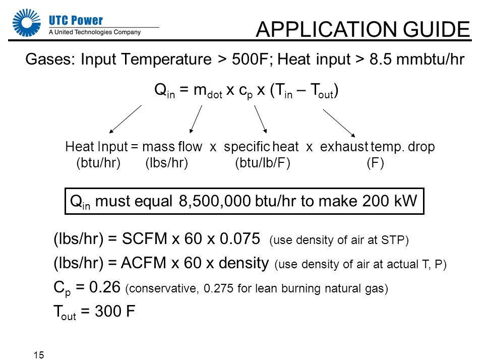 15 Gases: Input Temperature > 500F; Heat input > 8.5 mmbtu/hr APPLICATION GUIDE Q in = m dot x c p x (T in – T out ) Heat Input = mass flow x specific