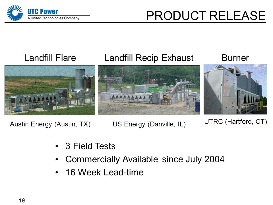 19 PRODUCT RELEASE 3 Field Tests Commercially Available since July 2004 16 Week Lead-time Landfill Flare Austin Energy (Austin, TX) Landfill Recip Exh