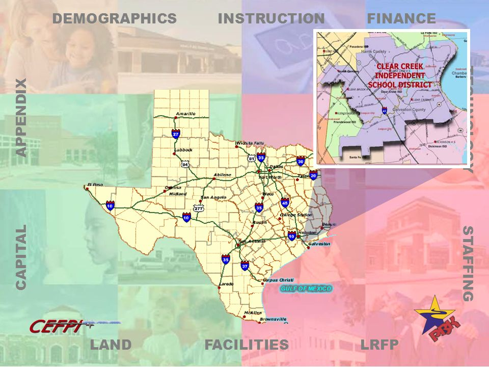 LRFP DEMOGRAPHICS FINANCE TECHNOLOGY STAFFING FACILITIES LAND CAPITAL APPENDIX INSTRUCTION Clearly States District Plan and District Goals