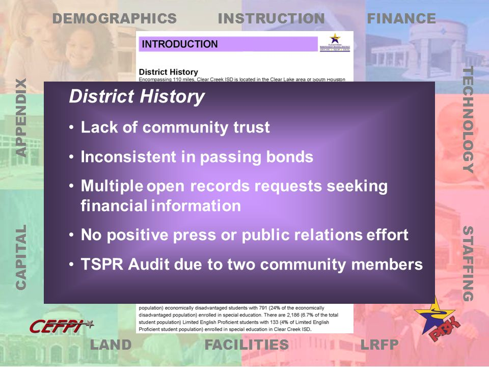LRFP DEMOGRAPHICS FINANCE TECHNOLOGY STAFFING FACILITIES LAND CAPITAL APPENDIX INSTRUCTION Identifies All Technology Needs and Related Cost For New and Existing Schools