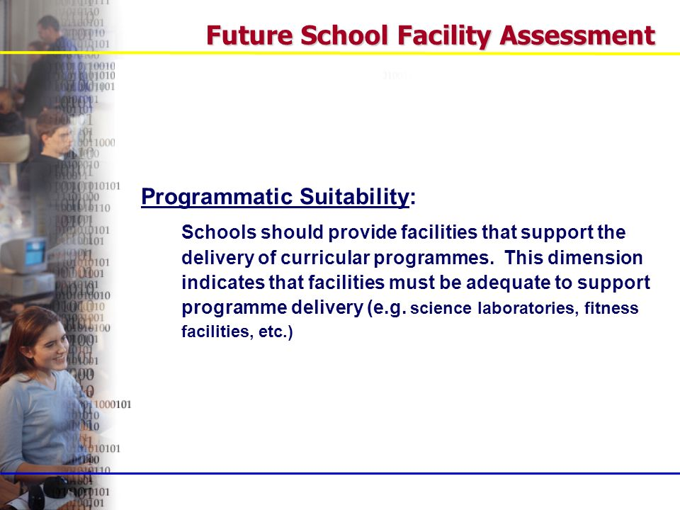 Programmatic Suitability: Schools should provide facilities that support the delivery of curricular programmes.
