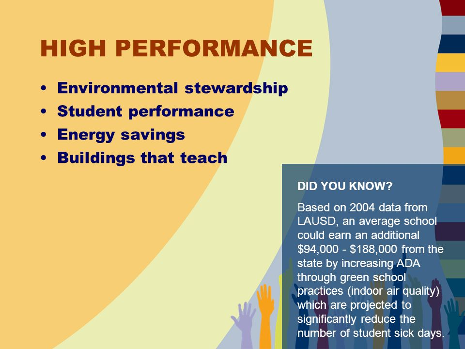 HIGH PERFORMANCE Environmental stewardship Student performance Energy savings Buildings that teach DID YOU KNOW.