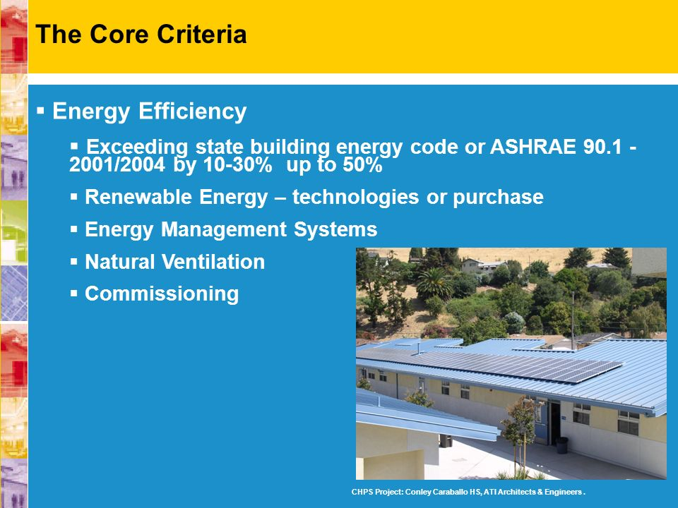 Energy Efficiency Exceeding state building energy code or ASHRAE 90.1 - 2001/2004 by 10-30% up to 50% Renewable Energy – technologies or purchase Ener
