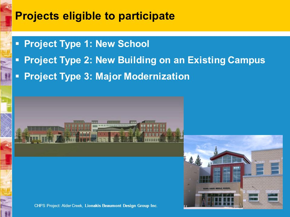 Project Type 1: New School Project Type 2: New Building on an Existing Campus Project Type 3: Major Modernization CHPS Project: Alder Creek, Lionakis