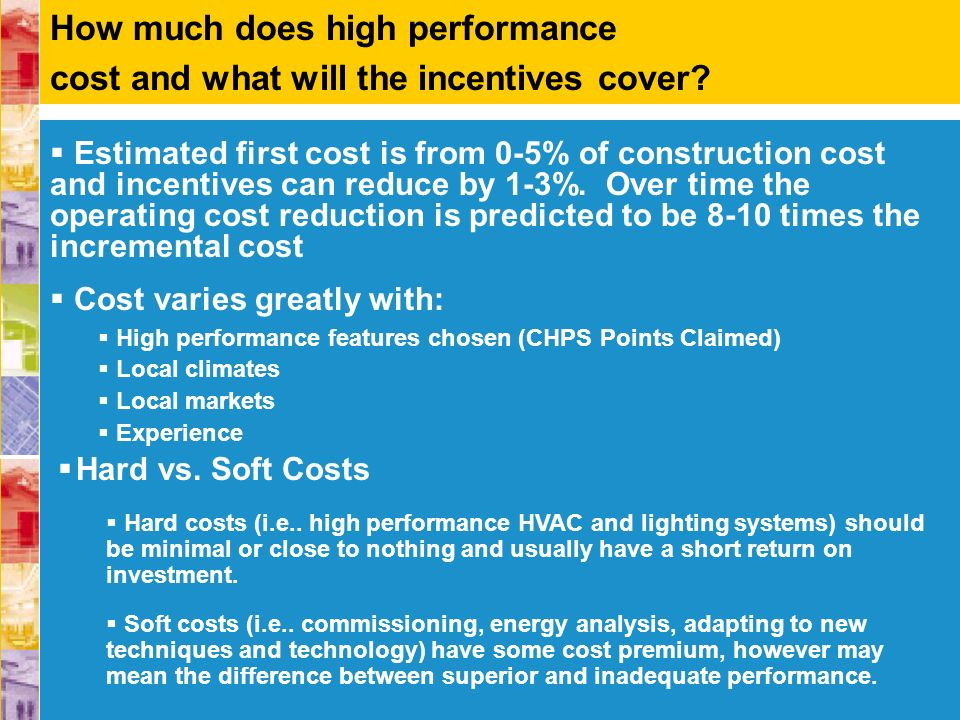 Estimated first cost is from 0-5% of construction cost and incentives can reduce by 1-3%. Over time the operating cost reduction is predicted to be 8-