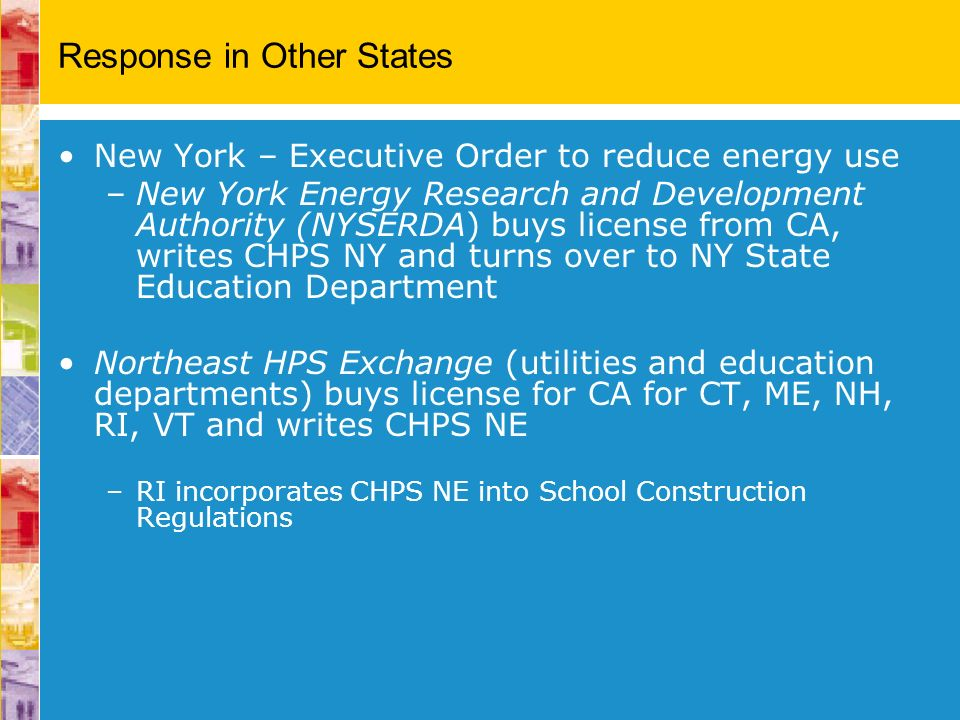 Response in Other States New York – Executive Order to reduce energy use –New York Energy Research and Development Authority (NYSERDA) buys license fr