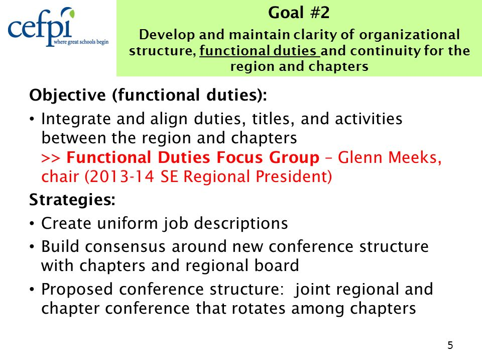Objective (functional duties): Integrate and align duties, titles, and activities between the region and chapters >> Functional Duties Focus Group – G