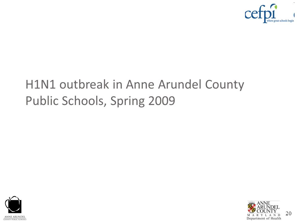20 H1N1 outbreak in Anne Arundel County Public Schools, Spring 2009