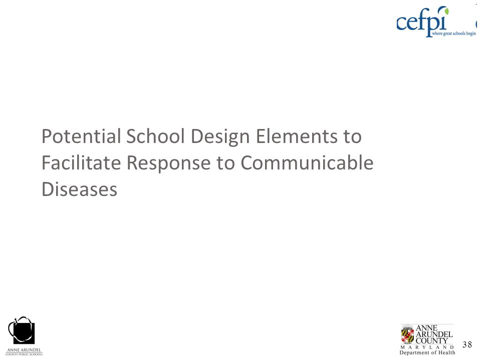 38 Potential School Design Elements to Facilitate Response to Communicable Diseases