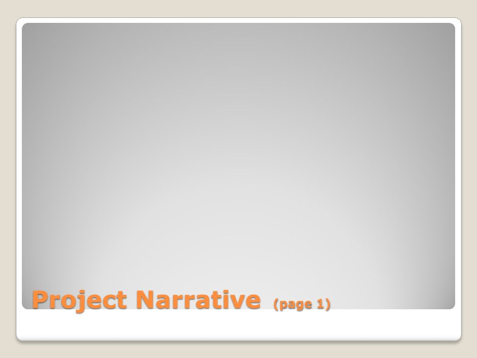 Project Narrative (page 1)