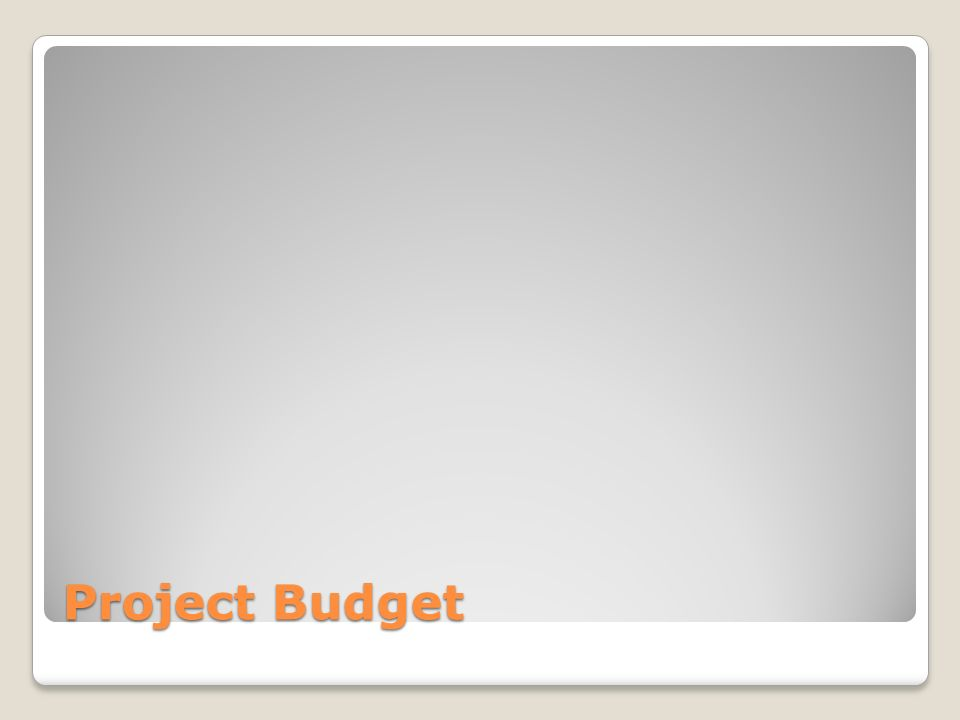 Project Budget