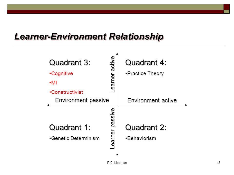 P.C. Lippman12 Learner-Environment Relationship Quadrant 4: Practice TheoryPractice Theory Quadrant 2: BehaviorismBehaviorism Quadrant 3: CognitiveCog