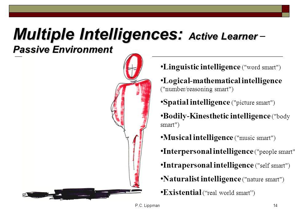 P.C. Lippman14 Multiple Intelligences: Active Learner Passive Environment Multiple Intelligences: Active Learner – Passive Environment Linguistic inte