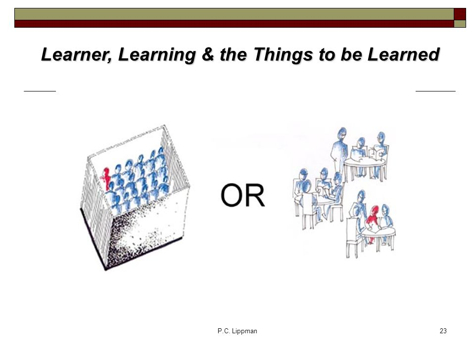 P.C. Lippman23 Learner, Learning & the Things to be Learned