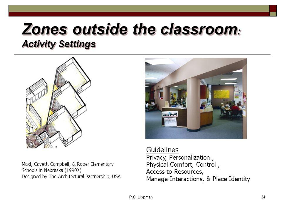 P.C. Lippman34 Zones outside the classroom : Activity Settings Maxi, Cavett, Campbell, & Roper Elementary Schools in Nebraska (1990s) Designed by The