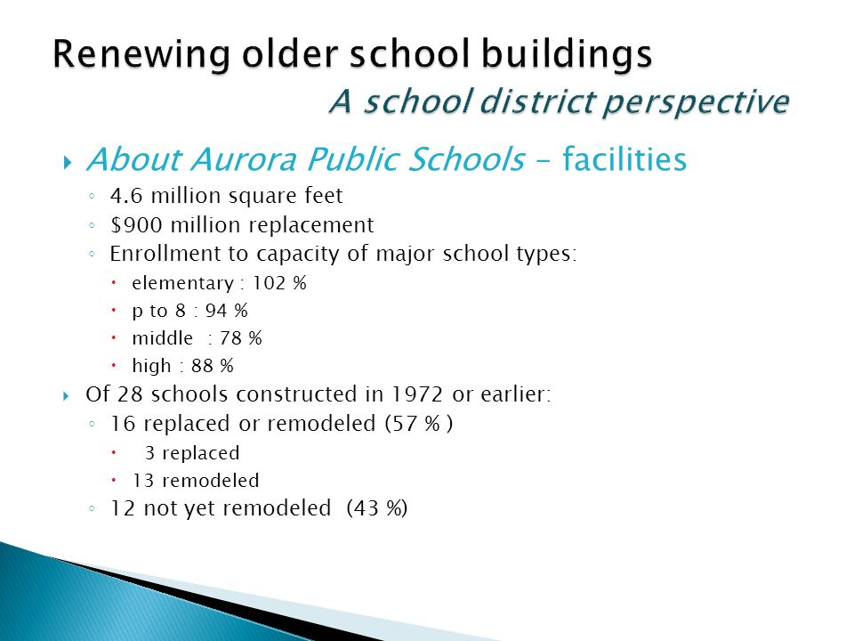 About Aurora Public Schools – facilities 4.6 million square feet $900 million replacement Enrollment to capacity of major school types: elementary : 102 % p to 8 : 94 % middle : 78 % high : 88 % Of 28 schools constructed in 1972 or earlier: 16 replaced or remodeled (57 % ) 3 replaced 13 remodeled 12 not yet remodeled (43 %)