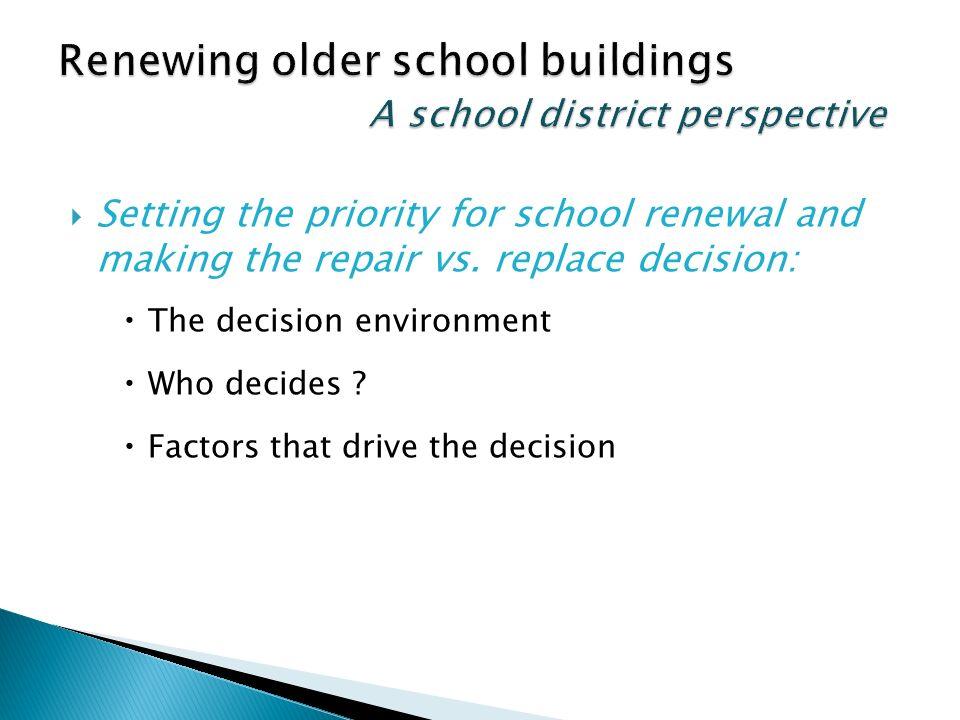 Setting the priority for school renewal and making the repair vs.