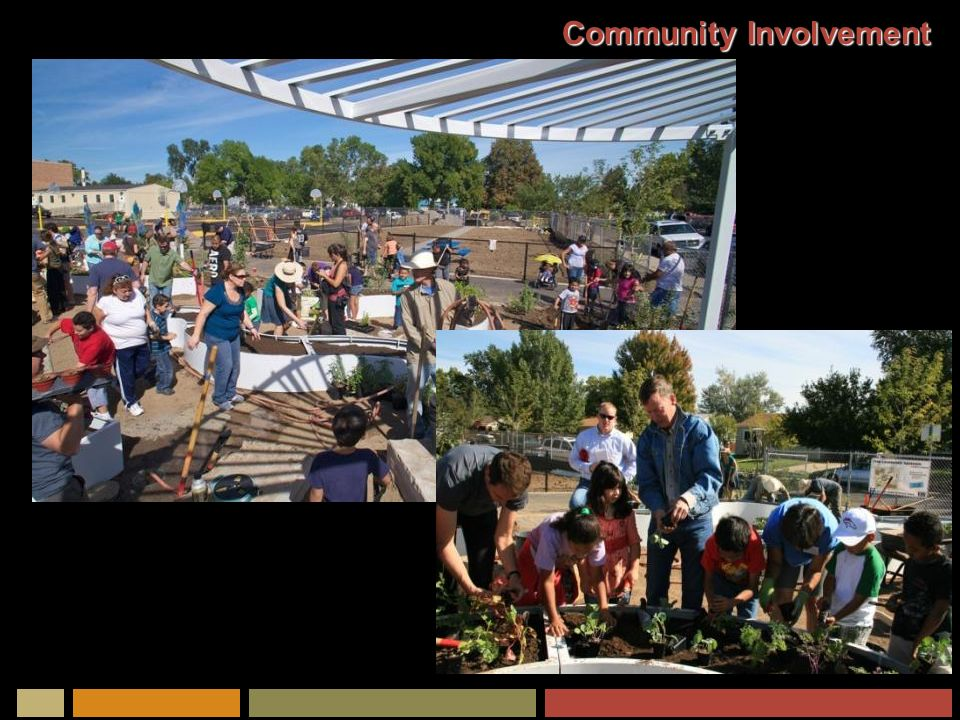 Partnering Opportunities A future elementary school University of Colorado at Denver www.learninglandscapes.org Denver Public Schools City and County of Denver Kaboom Play Equipment Kitchen Community and other local restaurants Slow Food Denver Urban Farms: Agriburbia, Revision International, Sprout City Farms Denver Urban Gardens for Community Gardens The Gates Foundation Americorps Comcast Target Home Depot Local businesses Local nurseries