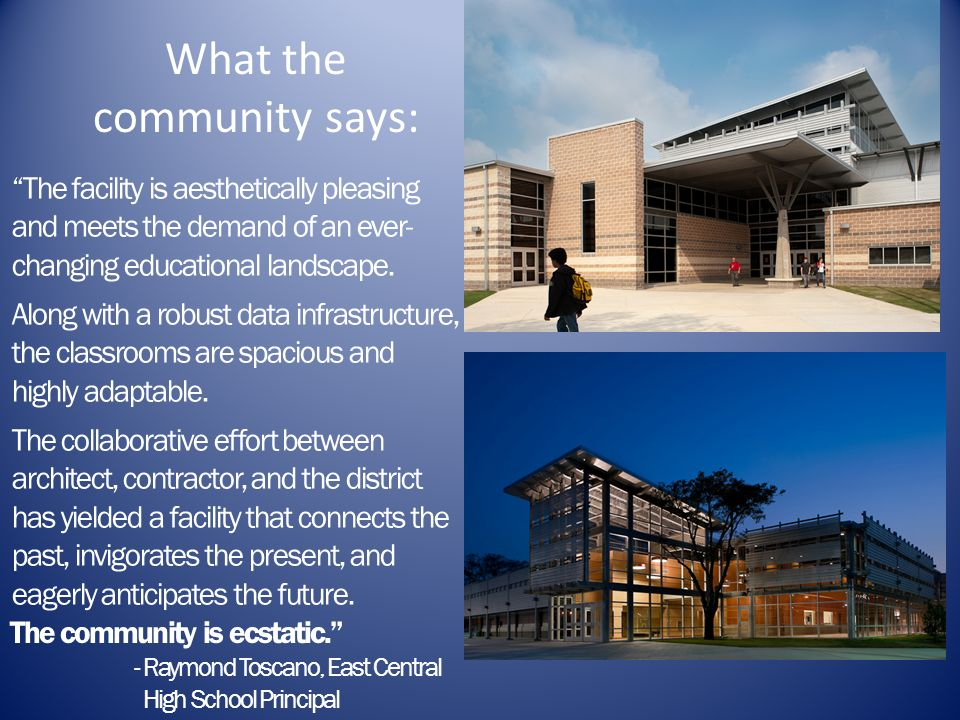 What the community says: The facility is aesthetically pleasing and meets the demand of an ever- changing educational landscape. Along with a robust d