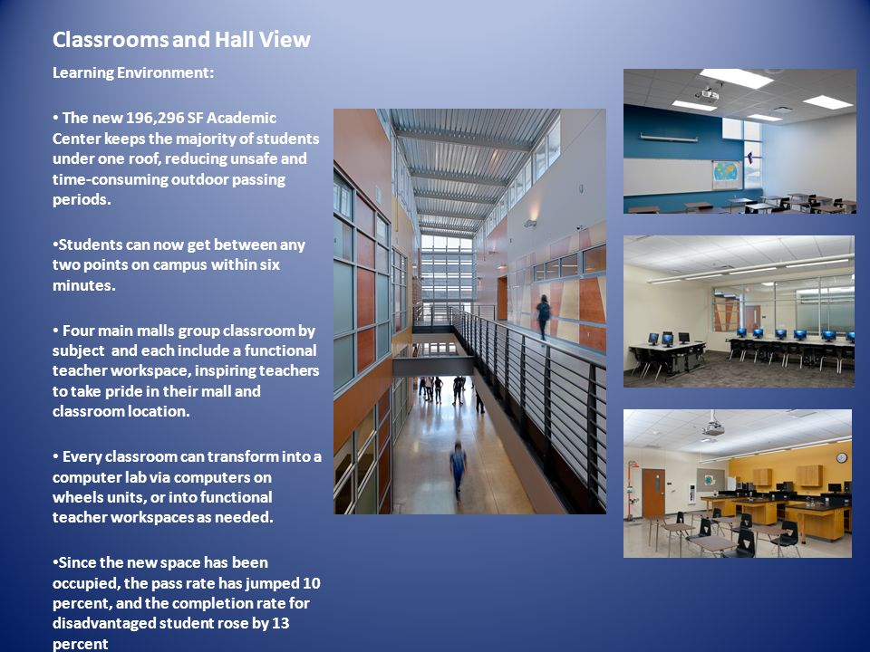 Classrooms and Hall View Learning Environment: The new 196,296 SF Academic Center keeps the majority of students under one roof, reducing unsafe and t