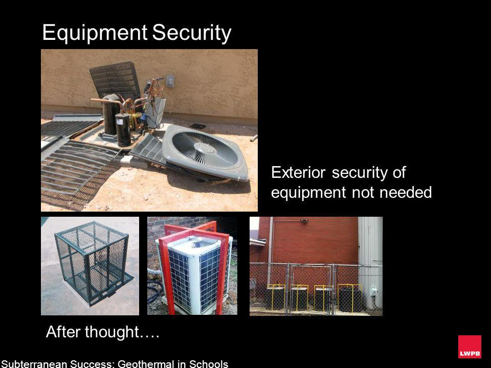 Equipment Security Exterior security of equipment not needed After thought…. Subterranean Success: Geothermal in Schools