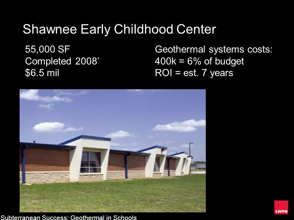 Shawnee Early Childhood Center 55,000 SF Completed 2008 $6.5 mil Geothermal systems costs: 400k = 6% of budget ROI = est. 7 years Subterranean Success