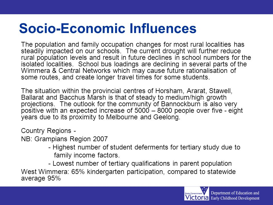 Socio-Economic Influences The population and family occupation changes for most rural localities has steadily impacted on our schools.