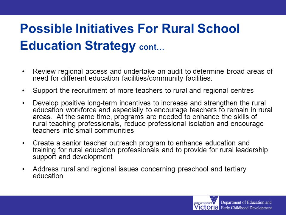 Review regional access and undertake an audit to determine broad areas of need for different education facilities/community facilities.