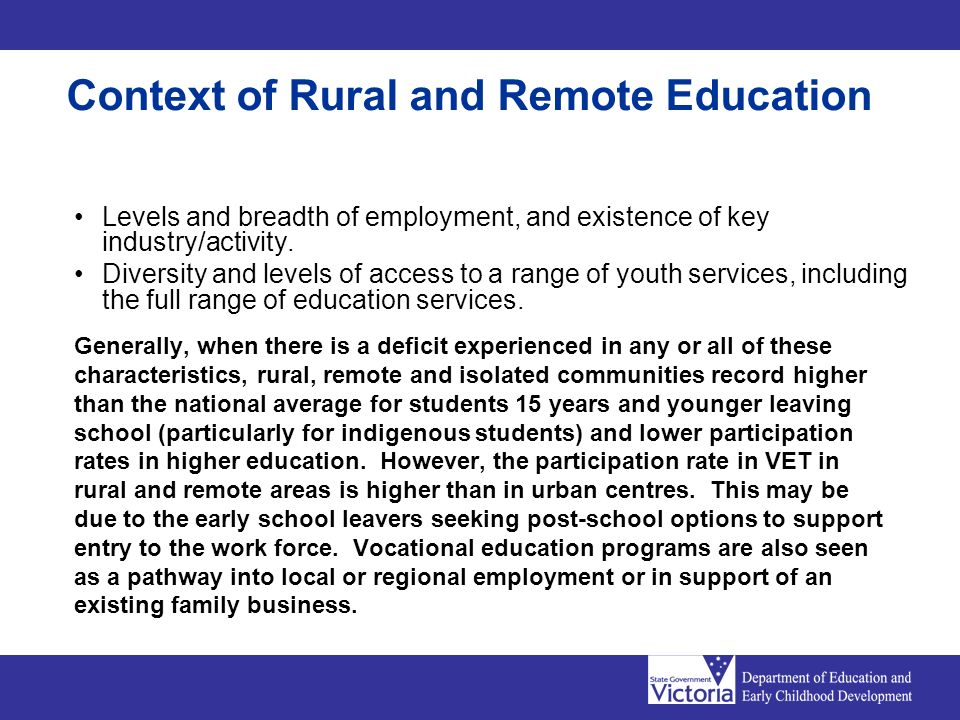 Levels and breadth of employment, and existence of key industry/activity. Diversity and levels of access to a range of youth services, including the f