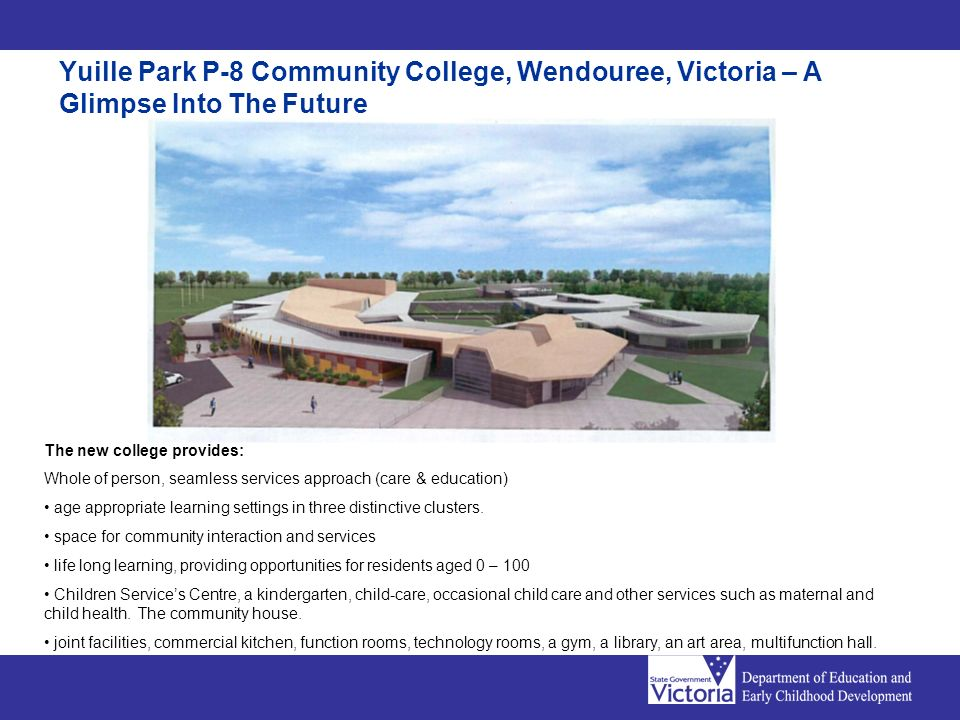 Yuille Park P-8 Community College, Wendouree, Victoria – A Glimpse Into The Future The new college provides: Whole of person, seamless services approach (care & education) age appropriate learning settings in three distinctive clusters.