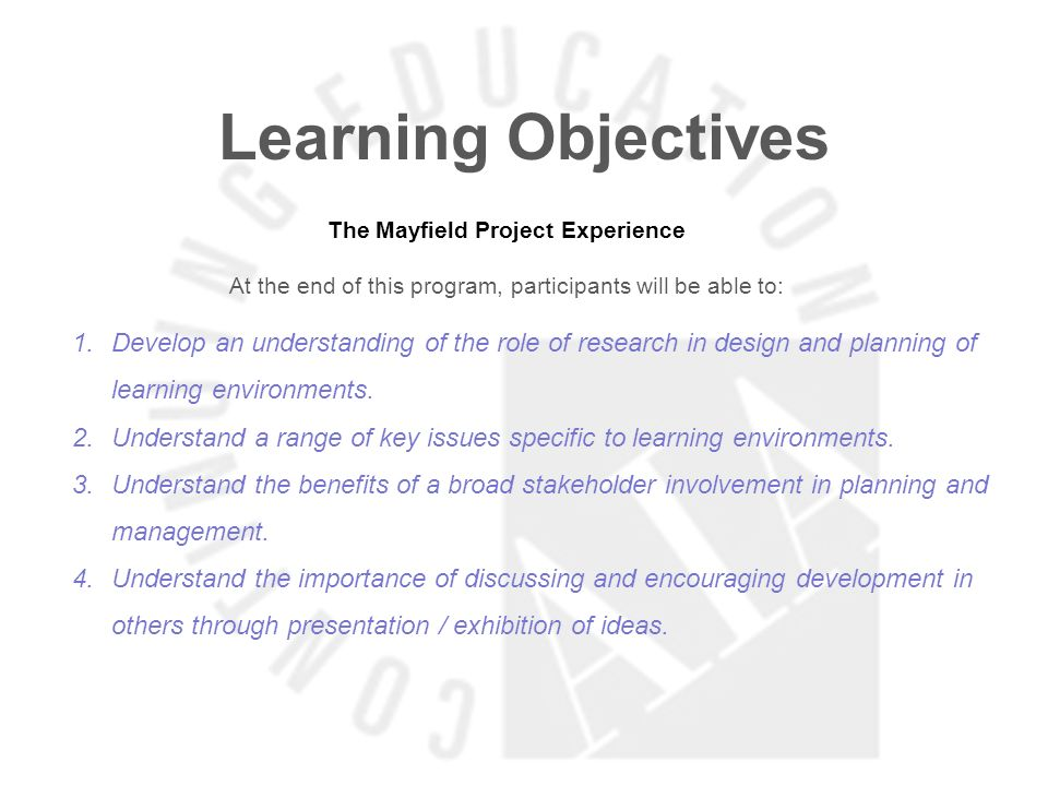 Learning Objectives Place-Based Learning: Interactive Learning and Net-Zero Design At the end of this program, participants will be able to: 1.Gain a thorough understanding of transparent educational design.
