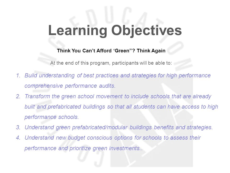 Learning Objectives Think You Cant Afford Green.