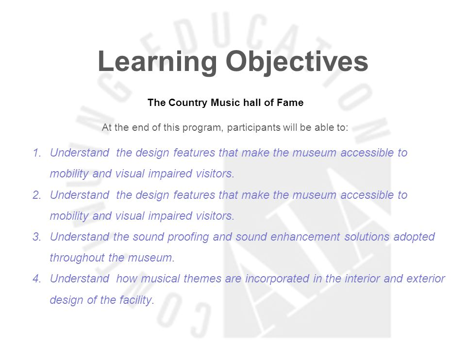 Learning Objectives Learning Really Starts When the Students Gain Control in the Classroom At the end of this program, participants will be able to: 1.Understand the different learning styles and the appropriate places for them 2.Know how a facility can be adapted to different learning styles 3.Understand what design features are better suited to accommodate electronics and different types of transmission.