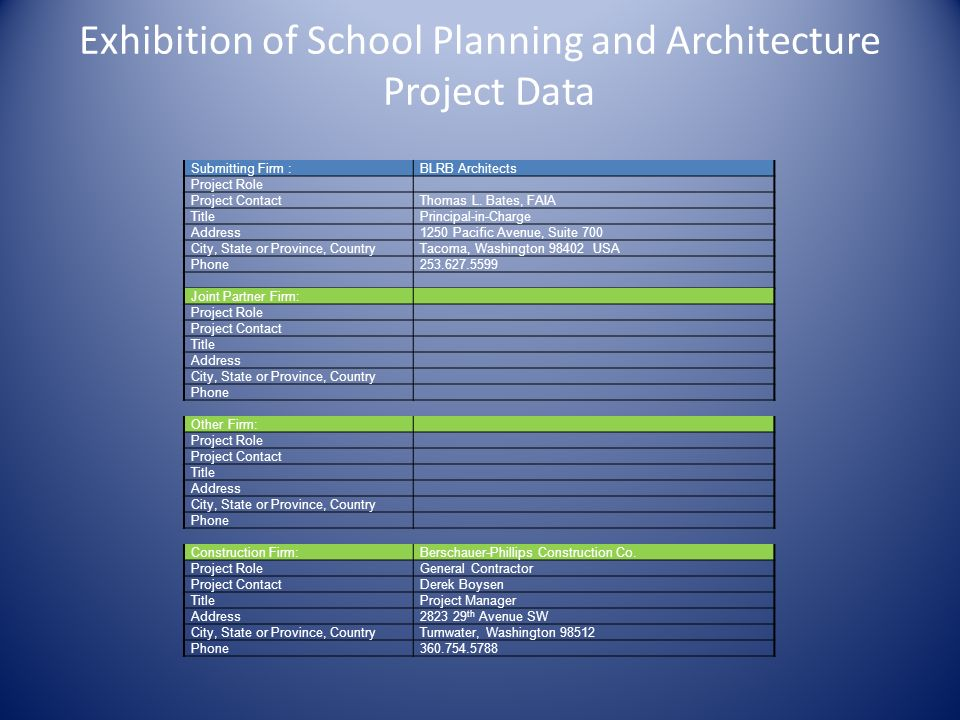 Exhibition of School Planning and Architecture Project Data Submitting Firm :BLRB Architects Project Role Project ContactThomas L. Bates, FAIA TitlePr